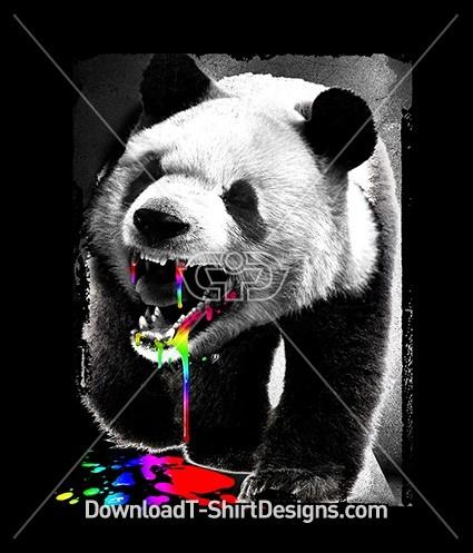 Angry Teeth Panda Bear Animal Neon Blood