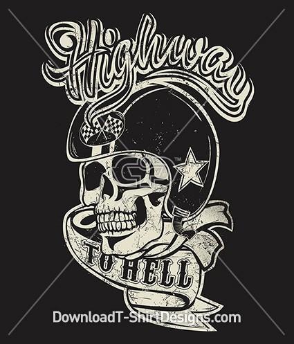 Vintage Highway to Hell Biker Skull Banner