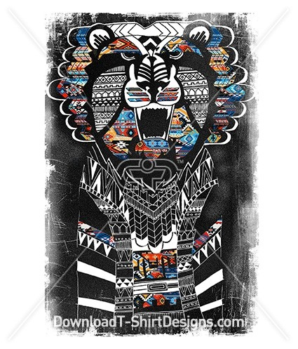 Hand Sketched Ethnic Tribal Pattern Lion
