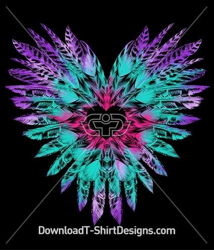 Tie Dye Feather Love Heart