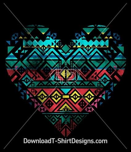 Tribal Aztec Pattern Heart