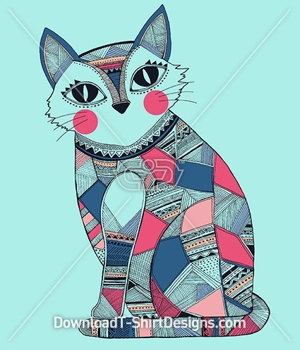 Tribal Ethnic Pattern Cute Patchwork Cat