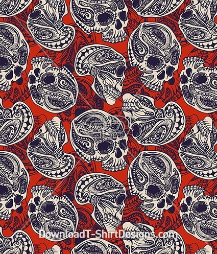 Tribal Aztec Pattern Skull Seamless Pattern