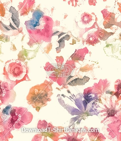 Blurred Painted Floral Seamless Pattern