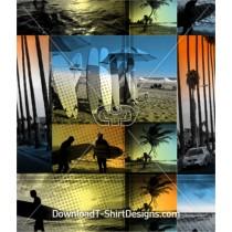 Tropical Surfer Beach Palm Trees Seamless Pattern