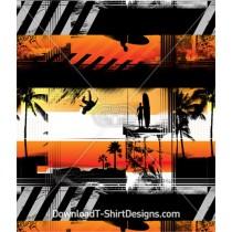 Surfer Surfboard Sunset Palm Tree Seamless Pattern