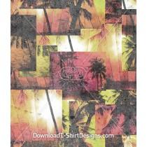 Tropical Summer Palm Tree Beach Seamless Pattern