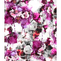 Floral Dripping Watercolor Seamless Pattern