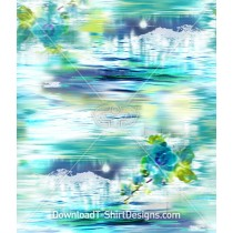 Underwater Abstract Orchid Flower Seamless Pattern