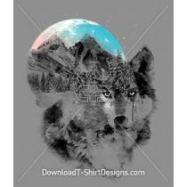 Wolf Winter Snowy Mountains Moon