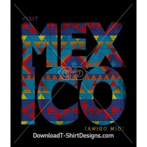 Visit Mexico Aztec Tribal Ethnic Pattern Words