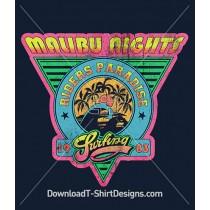 Retro 80's Malibu Nights Surf Logo Sticker