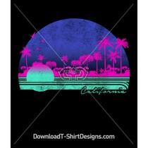 Retro California Sunset Palm Trees
