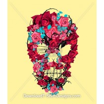 Rose Thorns Barb Wire Skull