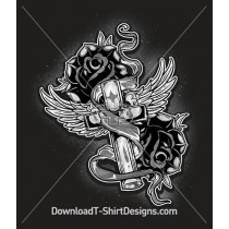 Rose Cross Wings Skull Tattoo