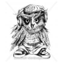Hip Hop Headphones Gangster Owl Illustration