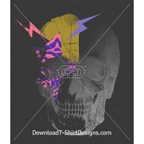 Skull Shadow Pattern Lightening Bolts