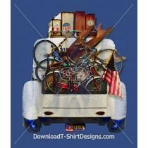 American Vintage Car Surfboard Bike USA Flag
