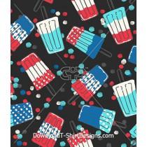 Retro Popsicle Watercolor Spot Seamless Pattern