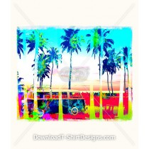 Psychedelic Palm Tree Beach Surf Van