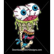 Scary Comic Cartoon Ice Cream Zombie Monster