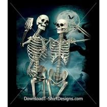 Graveyard Moon Skeleton Selfie