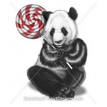 Cute Illustrated Panda Cuddling Candy Lollipop