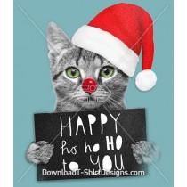 Happy Ho Ho Christmas Festive Kitten