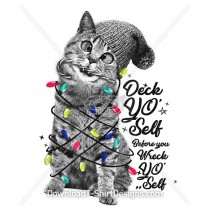 Deck Yo Self Christmas Lights Kitten Illustration