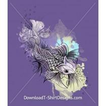 Illustrated Japanese Watercolor Koi Fish