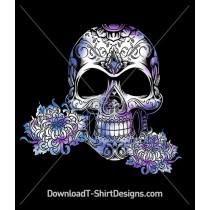 Illustrated Candy Skull Purple Flowers