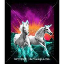 Retro 80's Unicorn Neon Sunrise Space Galaxy