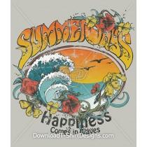 Retro Summer Days Surf Wave