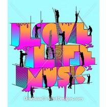 Gradient Love Life Music Typography Slogan Quote