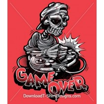 Game Over Skeleton Skull Cartoon Gamer