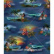 Vintage Hawaiian Hula Hibiscus Palm Seamless Pattern