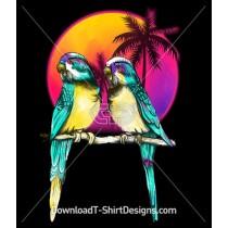 Retro Sunset Palm Trees Budgerigar Birds