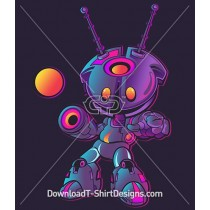 Cute Futuristic Gradient Robot Character