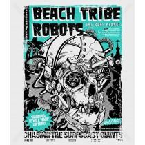 Beach Tribe Robot Skull Surf Poster
