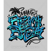 Summer Beach Break Slogan Quote Graffiti Typography