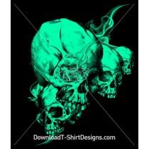 Scary Smoking Skulls Illustration