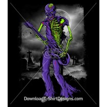 Scary Zombie Monster Skeleton Graveyard Guitar