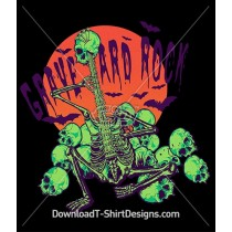 Graveyard Rock Skeleton Guitar Skulls Bats