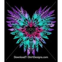 Tie Dye Feather Love Heart