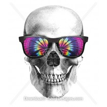 Illustrated Skull with Tie Dye Sunglasses