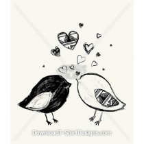 Hand Drawn Cute Birds Hearts Tribal Pattern
